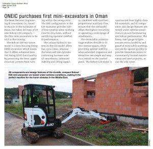 , ONEIC purchases first mini-excavators in Oman