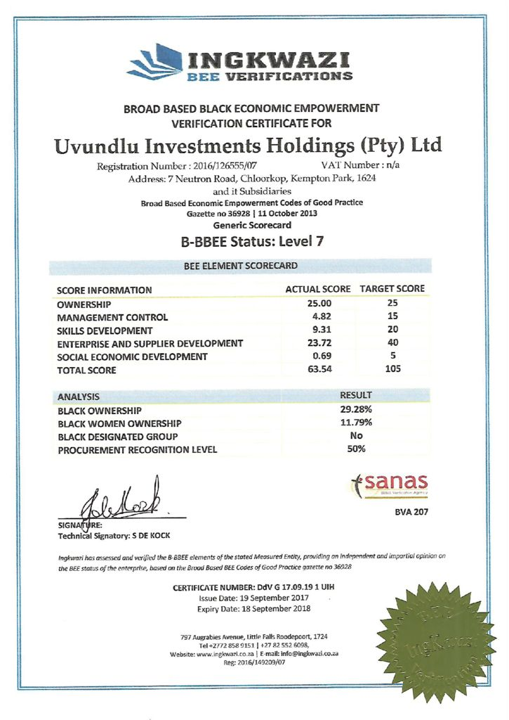 thumbnail of BEE CERT Uvundlu Investments